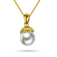 7.5-8mm AAA near round 925 sterling silver gold plated natural freshwater pearl pendant