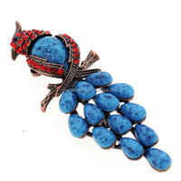 P168-732 women fashion bird jewelry accessories blue acrylic stone crystal rhinetone parrot brooch