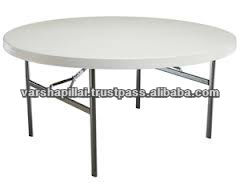 White Plastic Outdoor Round Folding Table