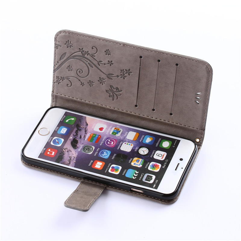 Wholesale Emboss Butterfly Leather Wallet Flip Case for iPhone 7 8, Many Models Available