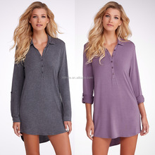 Sexy Women Fashion Plain Dyed Cotton Knitted Sleepwear Pajamas Modal Sleep Shirt for Ladies Wholesale Custom