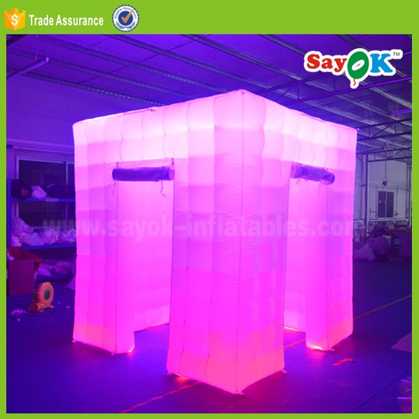 2 doors portable inflatable photo booth enclosure shell with led