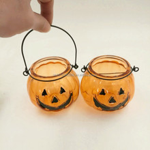 Pumpkin Shape Hanging Glass Candle Jar for All Saints' Day