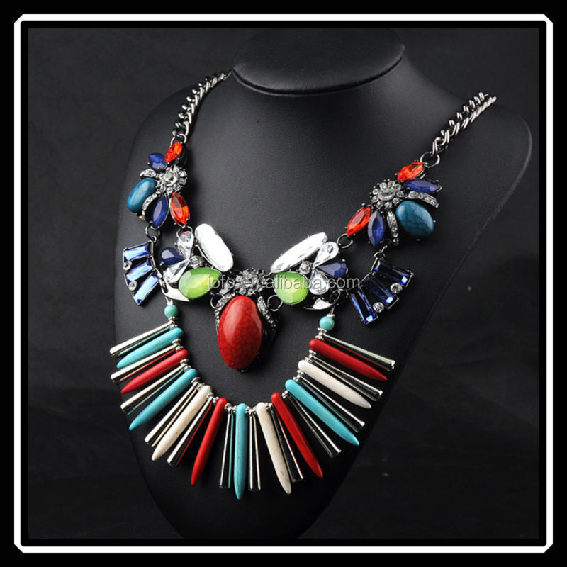Ethnic Style High Class Turquoise Crystal Gemstones Necklace Fashion Chest Accessories