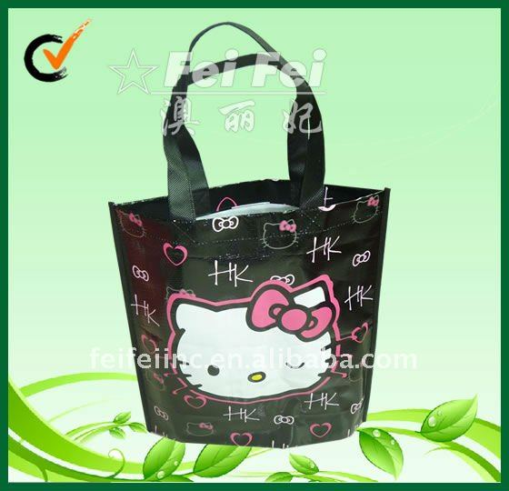 Black bag with glossy lamination hello kitty laminated woven tote