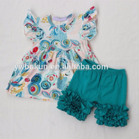 Hot Sale Summer Cute Girls Floral Printing Tunic Tops And Icing Shorts Outfits Kids Clothes