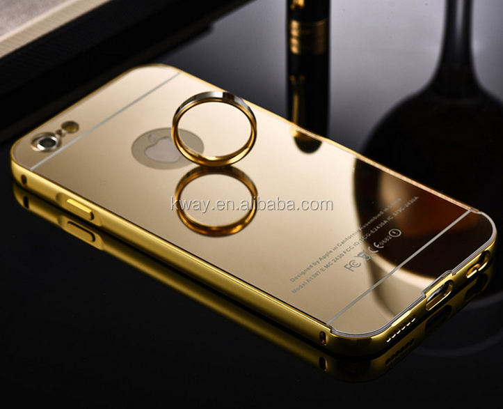 Gold Plated Metal Aluminum Bumper + Plastic Mirror Back Case For iPhone 5 5S SE 4 for iPhone 6 6S Plus Luxury Hybrid Cover Cases