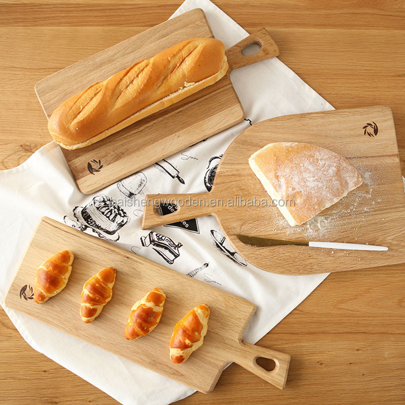 Natural color wooden bread serving tray cheese cutting board set with handle