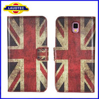 Old Style Flag Patern Leather Wallet Case for Samsung Note 3 N9000, Case for Samsung Galaxy Note 3--LAUDTEC