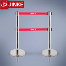 Simple Gate Design Double Lines Barrier Stand Retractable Bollard with Printing Logo