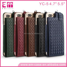 YC-5 Hand Made Knitted Skin Card Slots Flip Leather Phone Case For iPhone 4.7 5.5