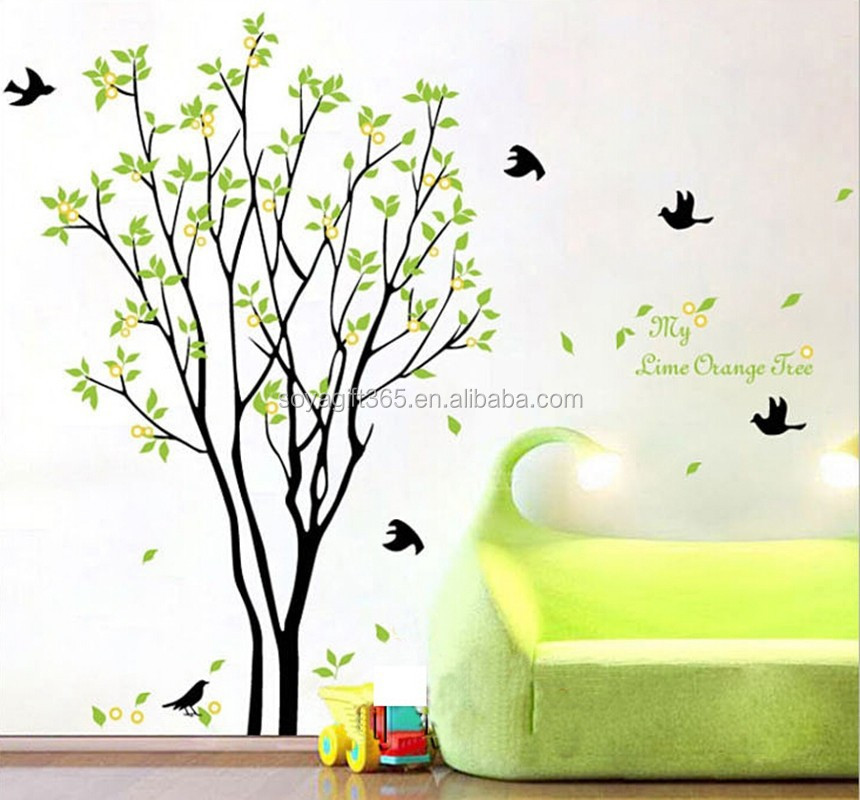 Wall decals tree flying birds wall green leaves nature for Floor plan com