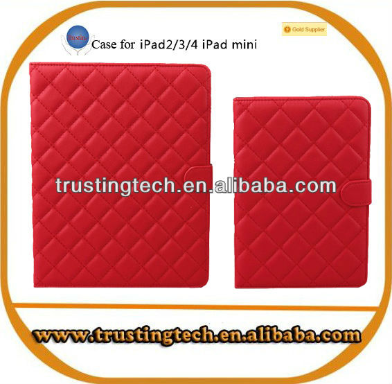 High quality elegant lamb print flip stand leather case for Ipad mini