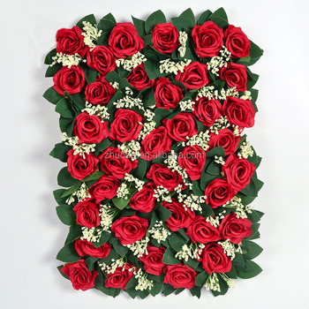 Hot Sale High Quality Red Pink White Wedding Backdrop Rose Flower Wall Artificial Flower For Wall Decoration