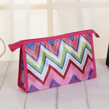 Newest Promotional Ladies Travel Handy Polyester Chevron Pattern Cosmetic Makeup Bag
