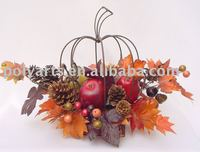 artificial flower arrangement,pumpkin of iron