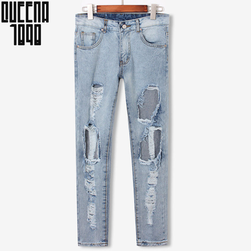 Denim jeans pants women big hole ripped designer jeans women trousers vintage brand spring 2015 Winter capris pencil pants S-L