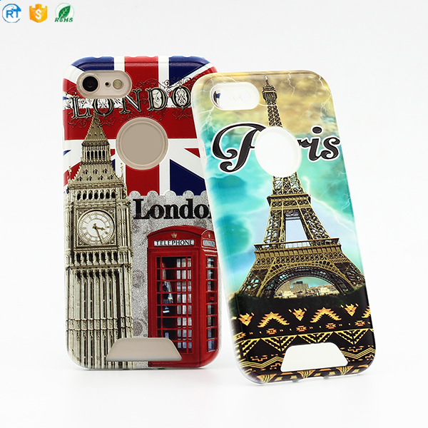 Newest 2 in 1 TPU+PC Relief Phone Case for Iphone 7 case