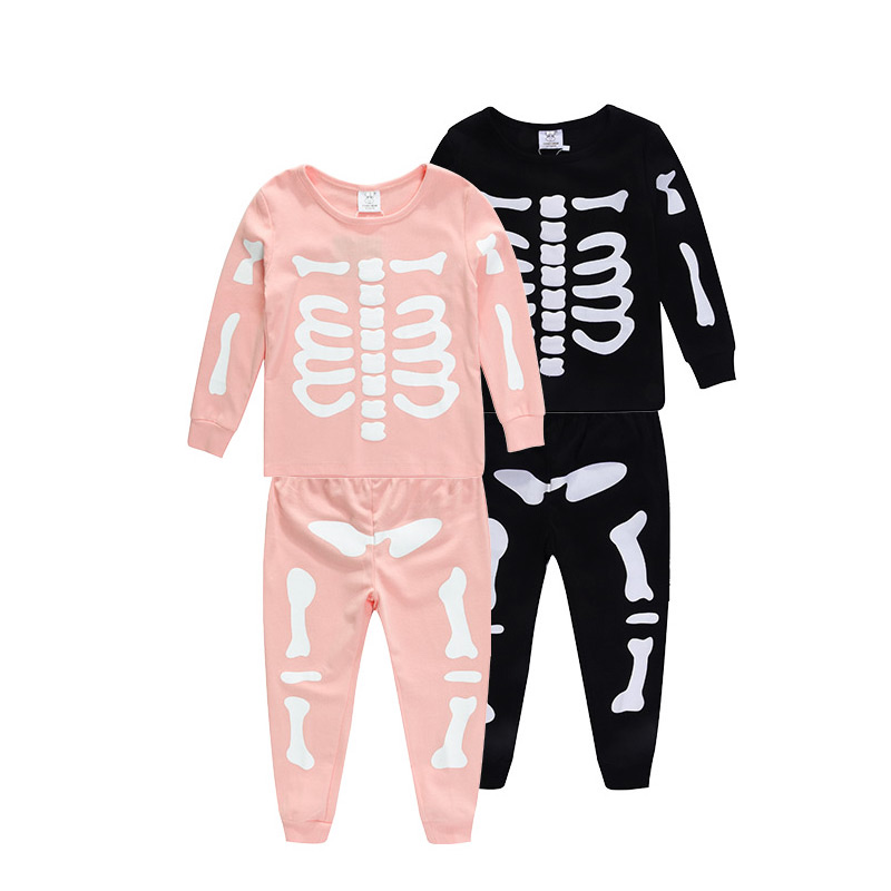 2 pcs cotton halloween skeleton kids pyjamas pjs wholesale buy kids pyjamashalloween pyjamaskids pyjamas wholesale product on alibabacom