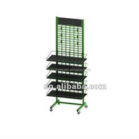 Double Sided Metal Gridwall Display Rack with Sign Holder