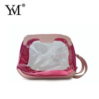 new style low price hot selling transparent waterproof travel pvc zipper cosmeic bags lady bags with handle