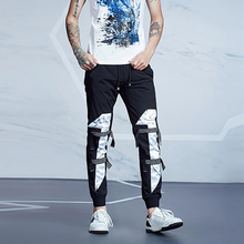 Slim fit mens jogger sweat pants new models print with fabric tape harem pants wholesale