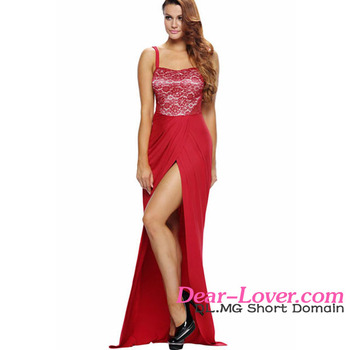 Hot Sale Fashion Red Lace Bustier Top Split Maxi night dress for women sexy