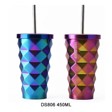 DS806 450ML/15OZ Double Wall Travel Stainless Steel Starbucks Tumbler Cup With Straw