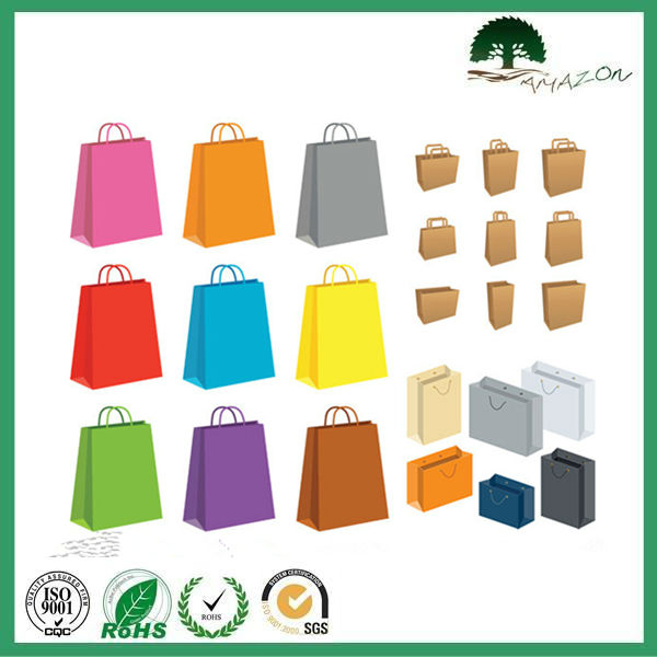 2014 OEM new design full color white cardboard paper bags