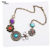Vintage Alloy Flower Big Diamond Strand And String Short Necklace THX08433