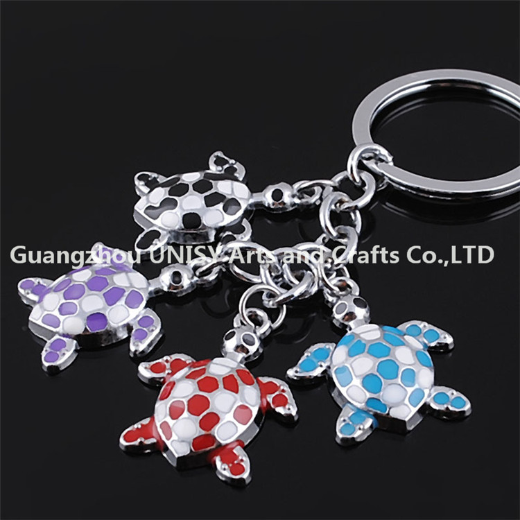 Hot selling promotional gifts tortoise shape zinc alloy metal glue key chain keyring wholesale