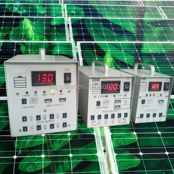 Green solar system 10W 20W Solar energy system solar deck lighting kits 5V 12V solar cell charger