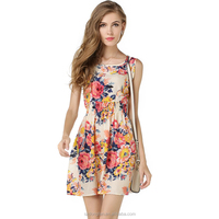 Fashion Clothing 2016 Lady Clothing Women Floral Printed Vestidos Chiffon One Piece Dress