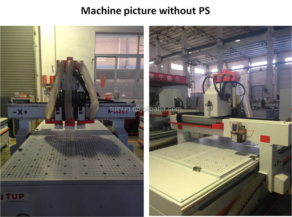 R-1325T multi head servo motor cnc router machine and vacuum table