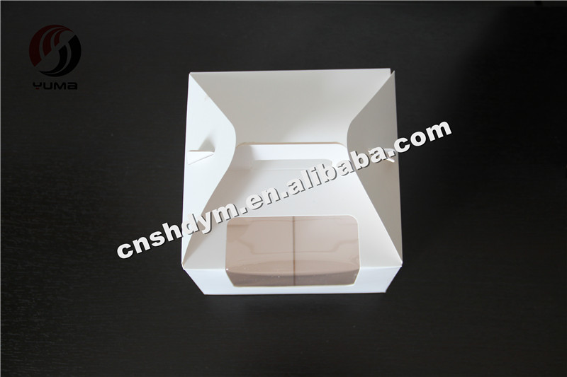 white cheap cake packaging window paper boxes
