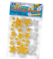 Yellow Stars Shaped EVA Foam Adhesive Sticker Glitter Paper