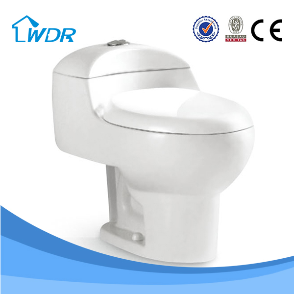 China manufacturer round one piece toilet, sanitary ware siphonic toilet S trap 300mm, top push button