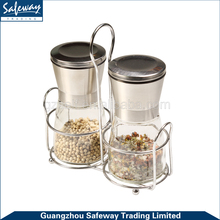 Kitchen Stainless Steel Spice Glass Salt Pepper Mill