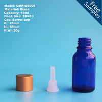 15ml blue Glass Essential Oil Bottle with Orifice Reducer