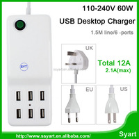 Free DHL EU Plug 110-240V 60W 12A 6 Ports USB Deaktop Charger Family/office-Sized Wall Charger Adapter For All Cellphone Tablet