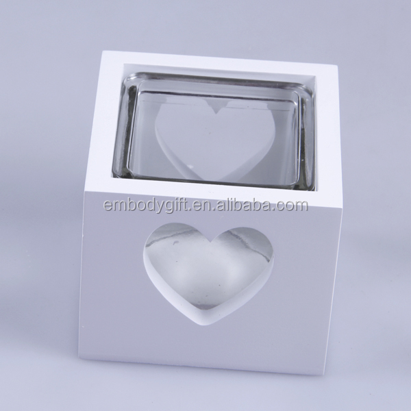 tea light candler holder inside with heart shaped cutter wooden base outside