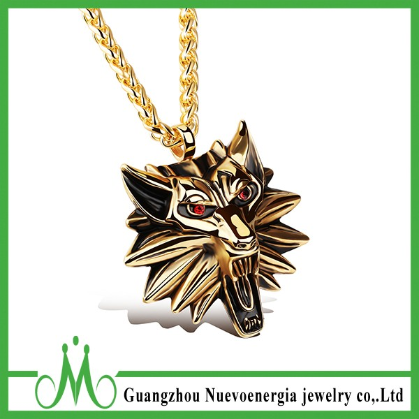 Golden Plated Red CZ Eyes Wolf Head Pendant 316L Stainless Steel Necklace Jewelry For Men