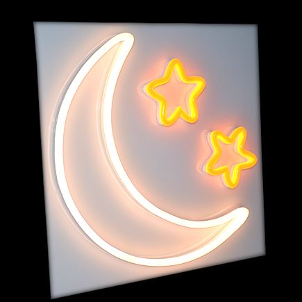 moon and stars neon sign LED