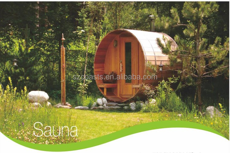 New arrival outdoor sauna red cedar wood barrel sauna for 2-6 persons
