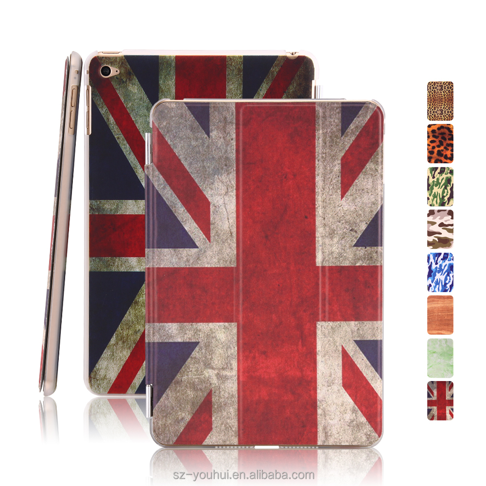 Best Selling Ultra Slim Smart Magnetic PU Leopard Camouflage Wood UK Flag Design Cover Case for iPad Mini 4