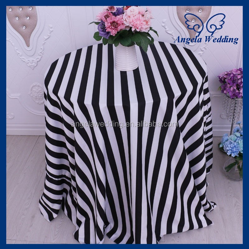 CL048A 2017 good quality elegant wedding round black and white stripe table cloth