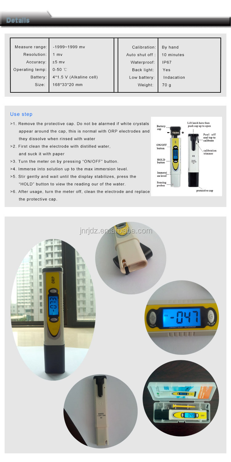 water quality analyser ORP meter ORP tester