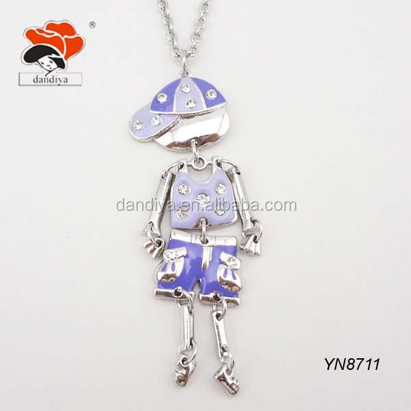 funny long chain enamel alloy sport boys shaped neklace wholesale kids jewelry