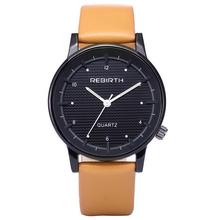 2017 new fashion mens aaa quality genuine leather wrist quartz watch with simple white face MW132