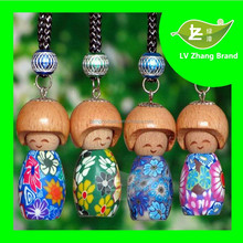 2017New Design 5ml with Russia baby smile face wood head Car Air Freshener With bottle